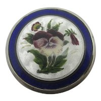 Pansy Flower Suffragette Guilloche Enamel Sterling Silver Pill Box Antique English 1911 Edwardian