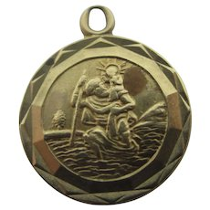 Tiny St Christopher 9k Gold Pendant Charm Vintage 1954 English