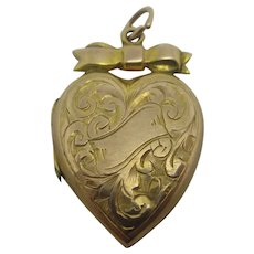 Heart & Bow 9k Gold Back Front Pendant Locket Antique Edwardian c1910