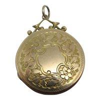 Forget Me Not 9k Gold Back Front Pendant Locket Antique Edwardian c1910