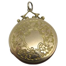 Forget Me Not 9k Gold Back Front Pendant Locket Antique Edwardian c1910