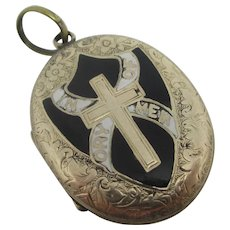 In Memory Of Mourning Enamel 9k Gold Back Front Pendant Locket Antique Victorian c1870