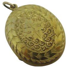 Forget Me Not Flower 18k Gold Back Front Pendant Locket Antique Victorian c1880