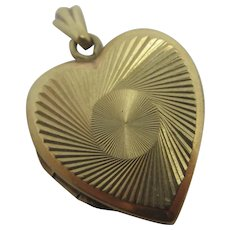 Heart Shape 9k Gold Back & Front Pendant Locket Vintage Art Deco c1920