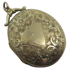 Forget Me Not & Fern Leaf 9k Gold Back Front Pendant Locket Antique Victorian c1890