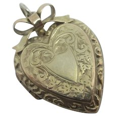 Heart & Bow 9k Gold Pendant Double Locket Vintage Art Deco c1920