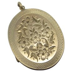 Forget Me Not 9k Gold Back Front Pendant Locket Antique Victorian c1890
