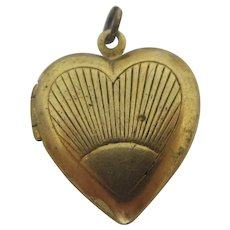 Sunburst Heart 9k Gold Plated Pendant Locket Vintage Art Deco c1937