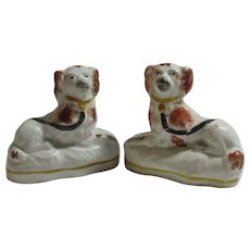 Pair of Staffordshire Pottery Dogs Antique Victorian c1860