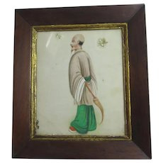 Chinese Rice Paper Watercolour of a Man Antique c1820