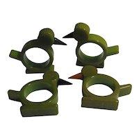 Set of 4 Phenolic Resin Bakelite Duck Napkin Rings Vintage Art Deco c1920