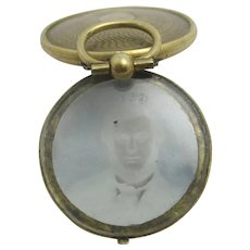Daguerreotype Photo 9k Rolled Gold Pendant Locket Antique Victorian c1860