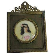 Ormolu Brass Frame Miniature Oil Portrait Painting Antique Victorian c1900