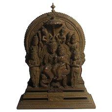 Indian Carved Walnut Scene Vintage Art Deco c1920