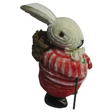 Wobbly Bunny Rabbit Plush Cardboard Chocolate or Bon Bon Box Vintage c1950