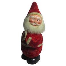 Wobbly Father Christmas Plush Cardboard Chocolate or Bon Bon Box Vintage c1950