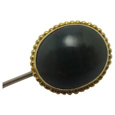 Bloodstone 15k Gold Stock Stick Pin Brooch Pin Antique Victorian c1860