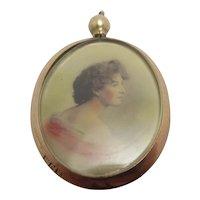 Hand Tinted Photo 9k Gold Double Pendant Locket Antique Edwardian 1907 English