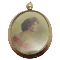 Hand Tinted Photo 9k Gold Double Pendant Locket Antique Edwardian 1907 English