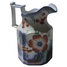 Gaudy Welsh Flow Blue Ironstone Milk Jug Antique Victorian c1845