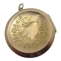 Flying Swallow Aesthetic 9k Rose Gold Back Front Locket Pendant Antique Edwardian c1910
