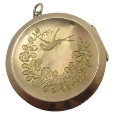 Flying Swallow Aesthetic 9k Rose Gold Back Front Locket Pendant Antique Edwardian c1910