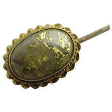 Californian Gold Nugget 15k Gold Stock Stick Pin Brooch Antique Victorian c1890