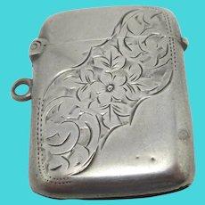 Forget Me Not Vesta Case Match Holder Sterling Silver English Antique Victorian 1899