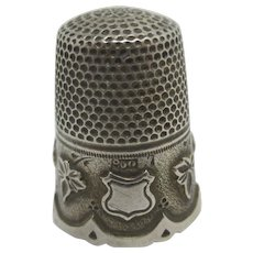 Ivy Leaf Sewing Thimble 800 Silver Antique Victorian c1890