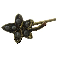 Maple Leaf Seed Pearl 9k Gold Stock Stick Pin Brooch Antique Victorian c1860