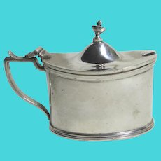 English Sterling Silver Mustard Pot Bristol Blue Liner Vintage 1972