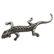Lizard Brooch Pin Sterling Silver Marcasite Vintage Art Deco c1920