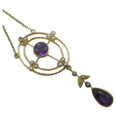 Amethyst Seed Pearl 15k Gold Dangling Pendant Necklace Antique Victorian c1890