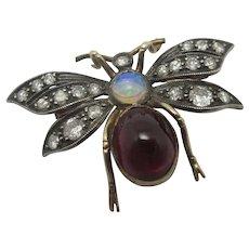 Water Opal, Garnet & Diamond Bug Brooch Pin 18k Gold & Platinum Antique Victorian c1890