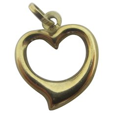 Witches Heart 9k Gold Pendant Charm Vintage c1970