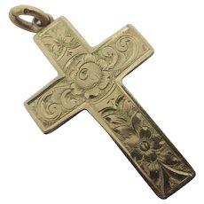 Forgot Me Not 9k Gold Cross Pendant English Edwardian Antique 1901.