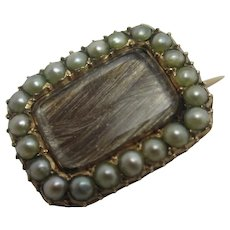 Mourning Hair Seed Pearl 9k Gold Brooch Pin Antique Georgian c1820