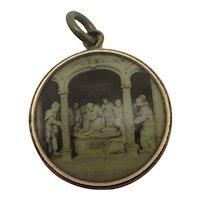 Religious Memorial Pendant Locket 9k Rolled Gold Antique Edwardian c1910