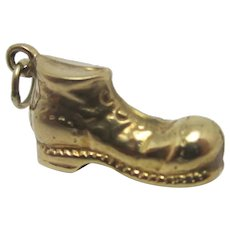 Lucky Old Boot Shoe 9k Gold Pendant Charm Vintage English 1977