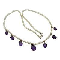 Amethyst Drop Pendant 9k Gold Pearl Necklace Antique Victorian c1890