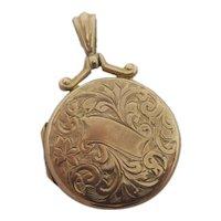 Ivy & Fern Leaf 9k Gold Double Locket Pendant Antique Edwardian 1915