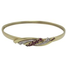 Diamond Ruby Spinel 9k Gold Bangle Bracelet Vintage c1980