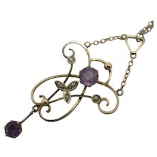 Amethyst & Seed Pearl 9k Gold Pendant Necklace Antique Victorian c1890
