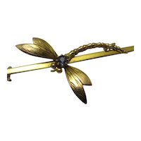 Dragonfly 9k Gold Brooch Pin Antique Victorian c1890