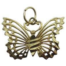 Butterfly 9k Gold Pendant Charm Vintage c1970
