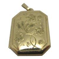 Forget Me Not 9k Gold Double Locket Pendant Vintage English 1998