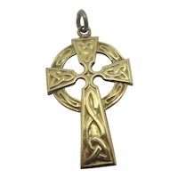 Celtic Cross 9k Gold Pendant Vintage English Hallmarks 1978