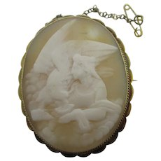 Leda / Leyda & the Swan Shell Cameo 9k Gold Brooch Pin Antique Victorian c1860