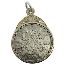 1933 6 Pence Sterling Silver Coin 9k Gold Pendant Fob Vintage Art Deco