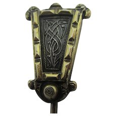 Snake Sterling Silver 9k Gold Stick Pin Brooch Vintage Art Deco c1930